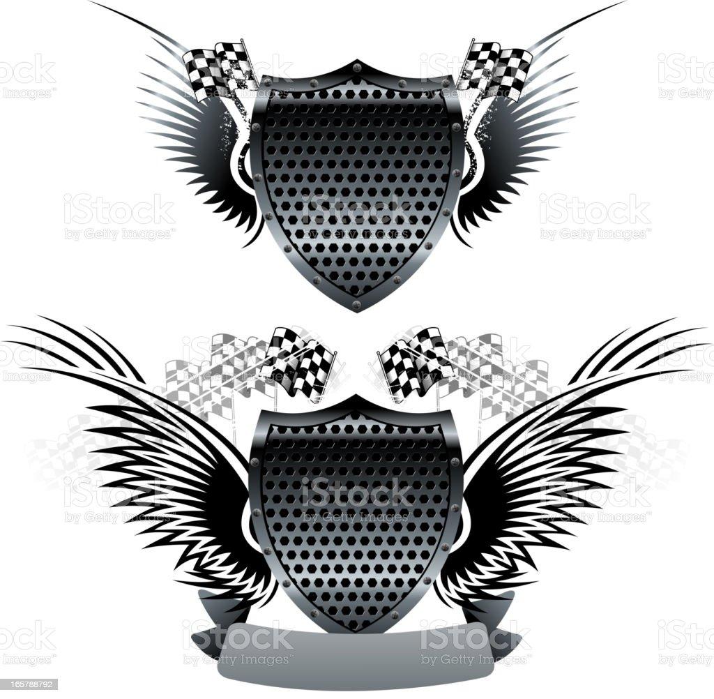 motorized sport shield vector art illustration