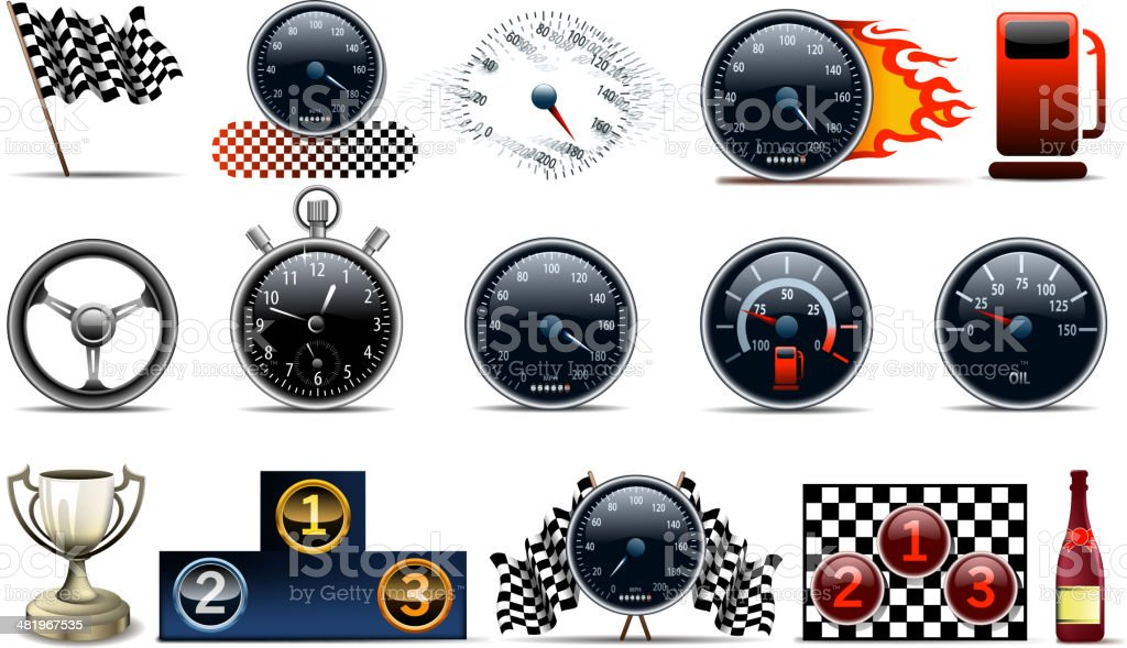 motorized sport symbols vector art illustration