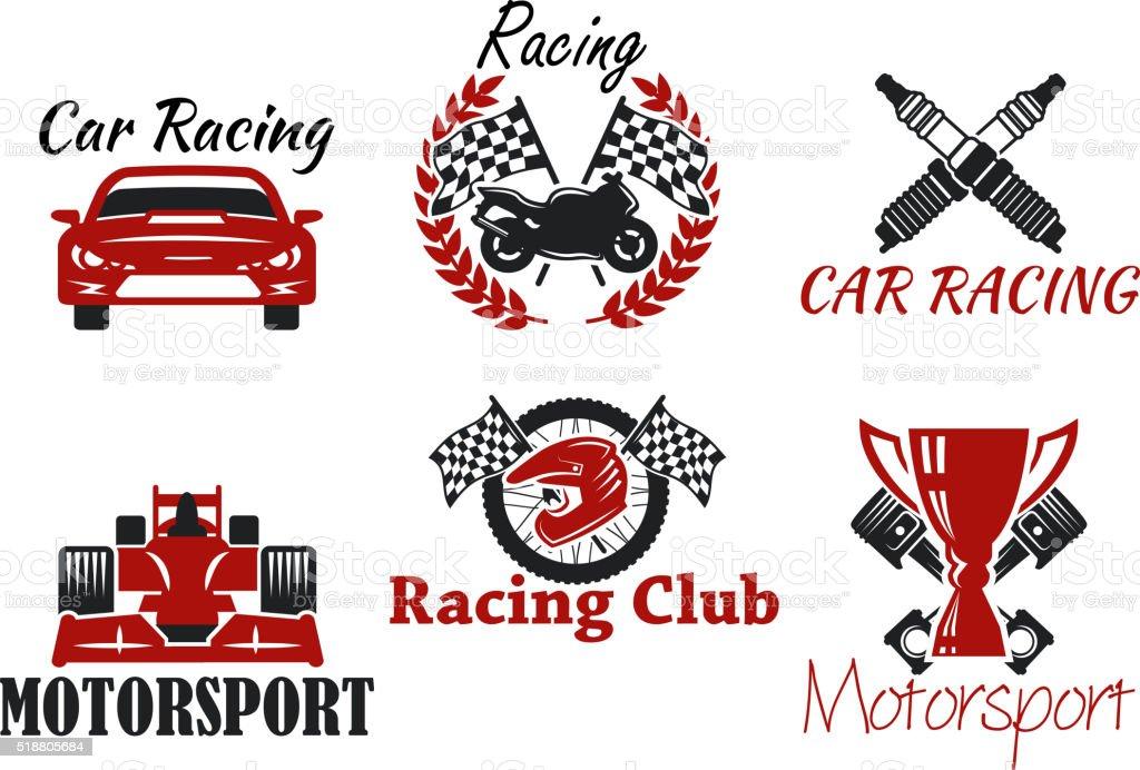 Motorsport and racing sport heraldic symbols for racing club or race...