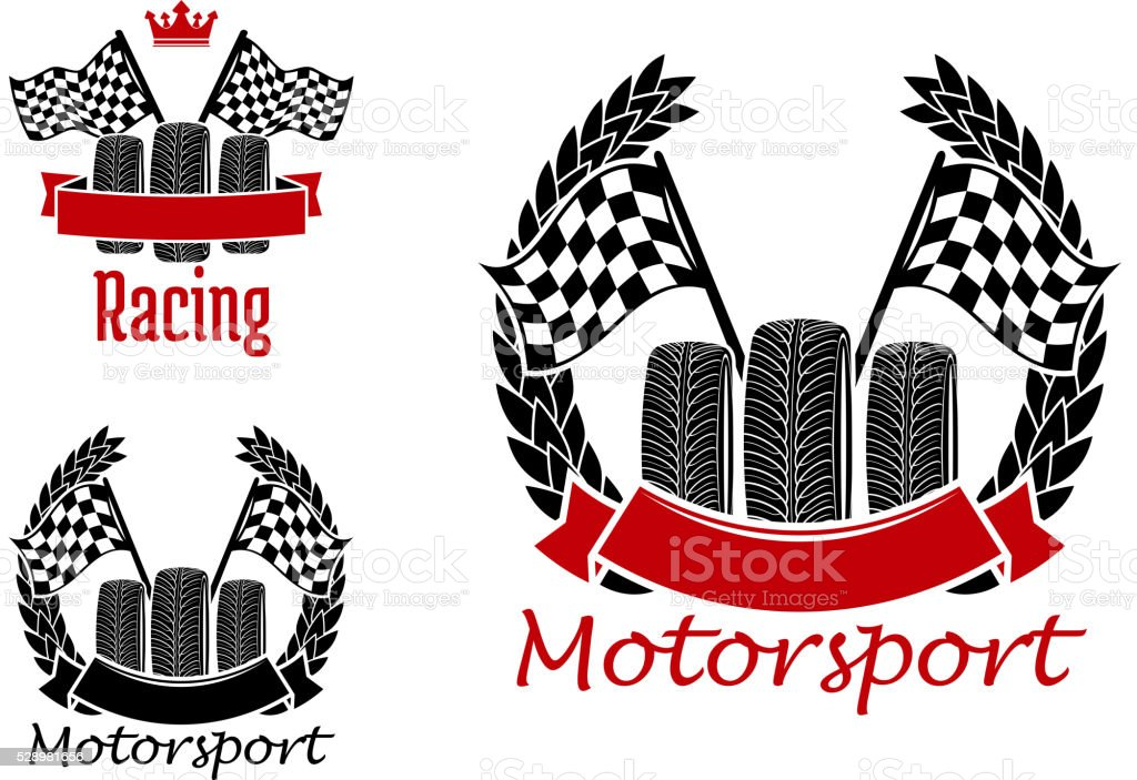 Motorsport competition icons with wheels and flags vector art illustration