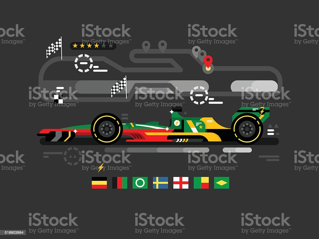 Motorsport formula one vector art illustration