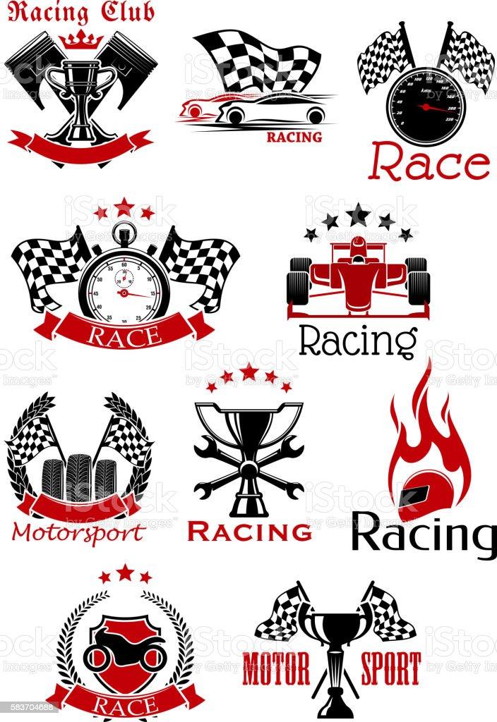 Motorsport heraldic icons and symbols vector art illustration