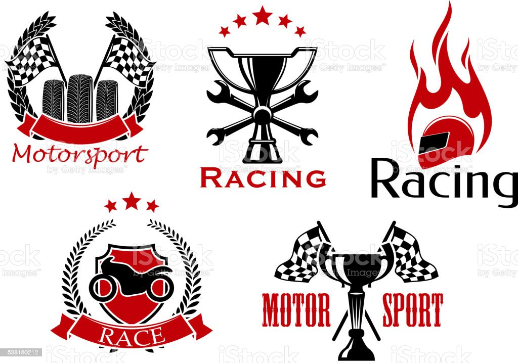 Motorsport, motorcycle and auto racing icons with wheels and trophy...