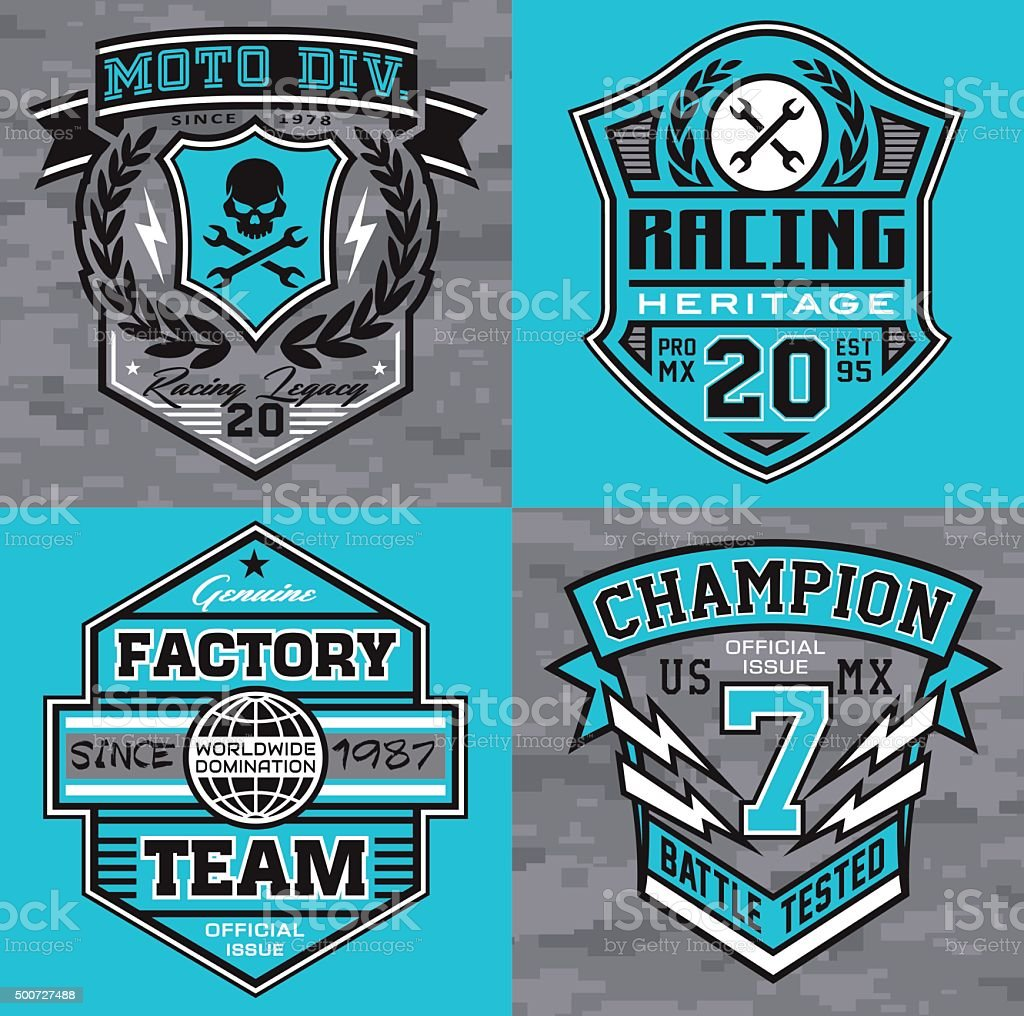 Motocross, sport-inspired emblem graphics suitable for modification.