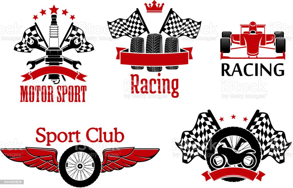 Winged wheel, tires with racing flags and motorcycle, open wheel race...