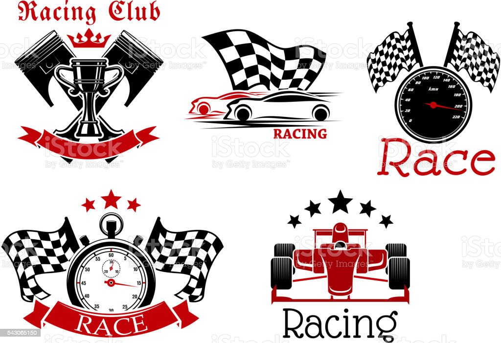 Sporting racing cars, speedometer and stopwatch with racing flags,...