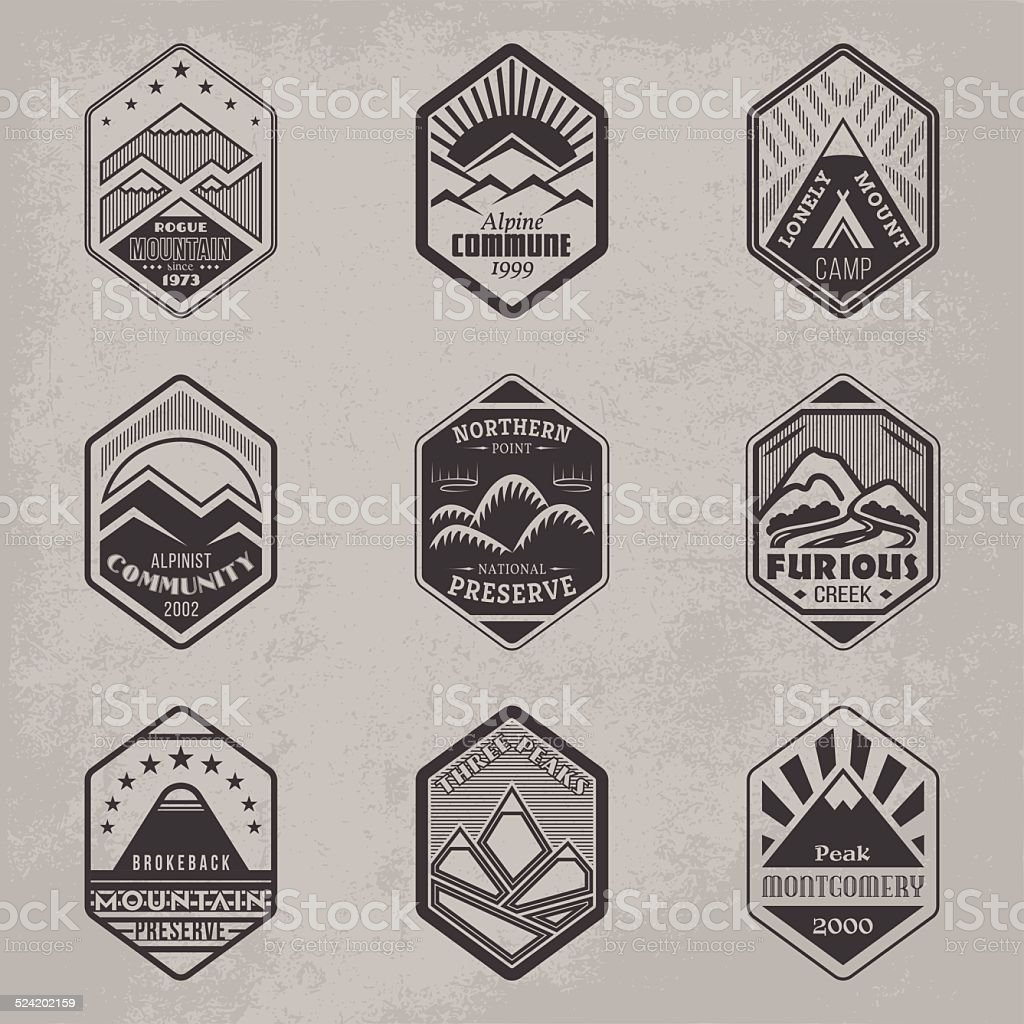 Mount badge set1 vector art illustration