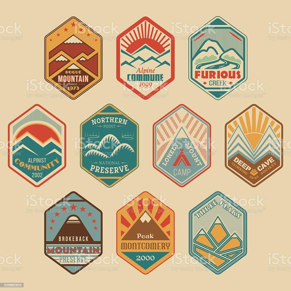 Mount badge set1color vector art illustration