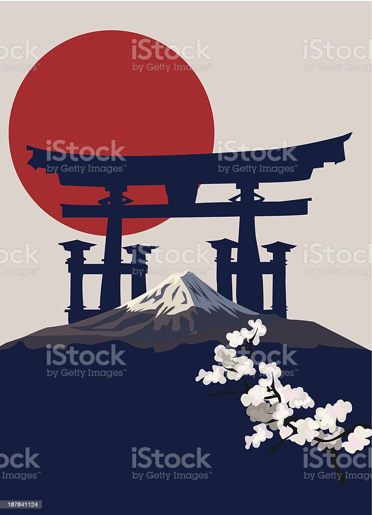 Mount Fuji and Torii Gate vector art illustration