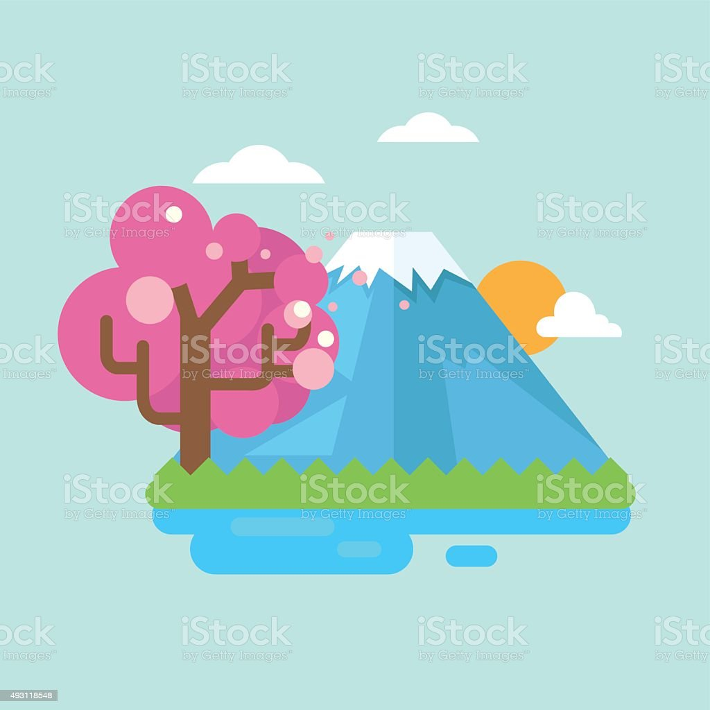 mount fuji with cherry blossoms vector art illustration
