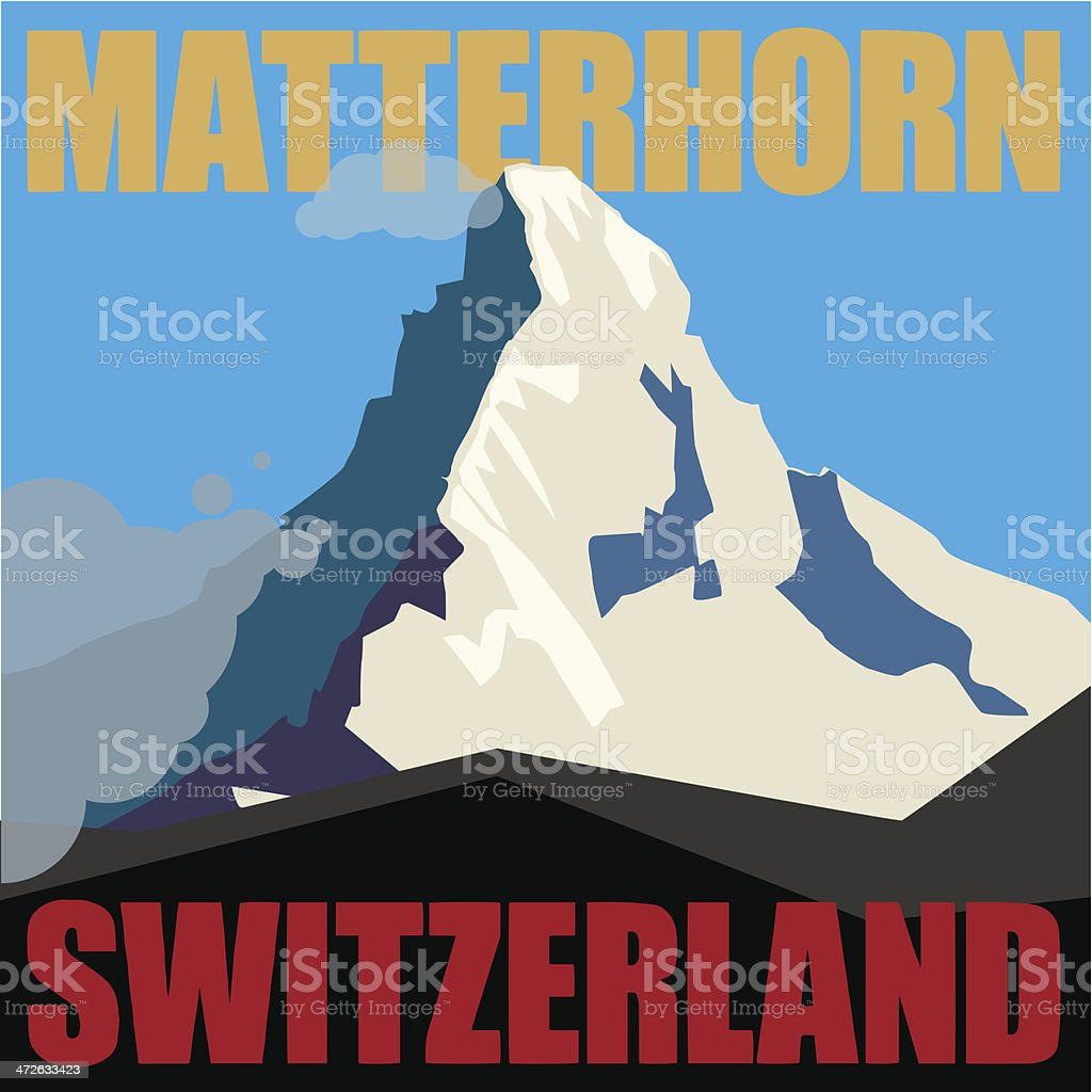 Mount Matterhorn background vector art illustration