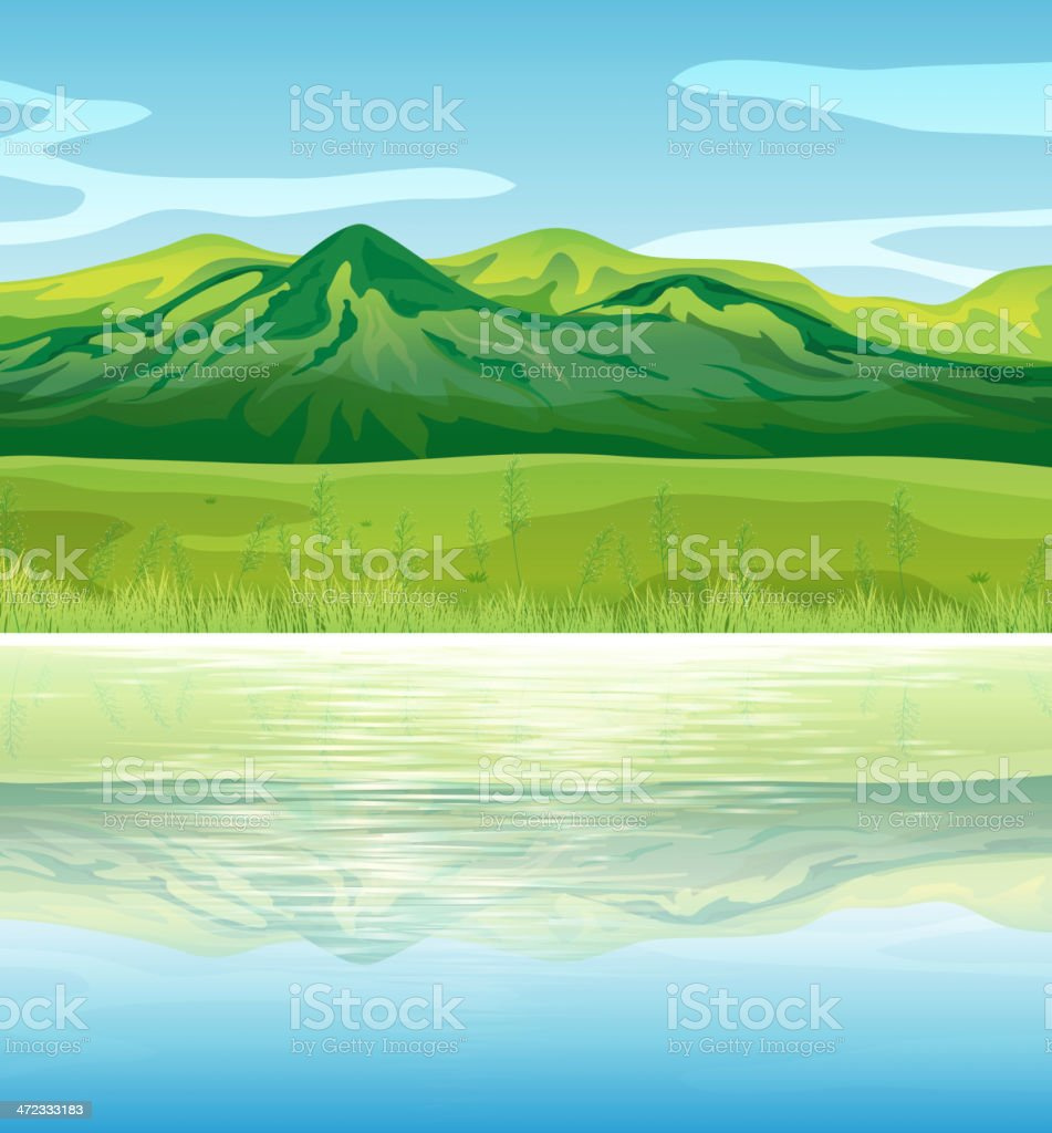 Mountain across the lake royalty-free stock vector art