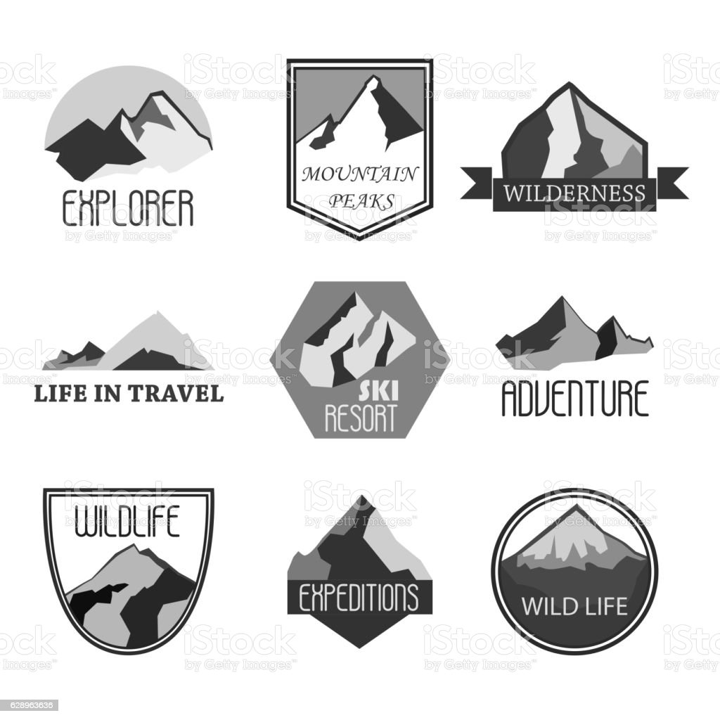 Mountain adventure and expedition logo badges collections. Travel emblems vector vector art illustration