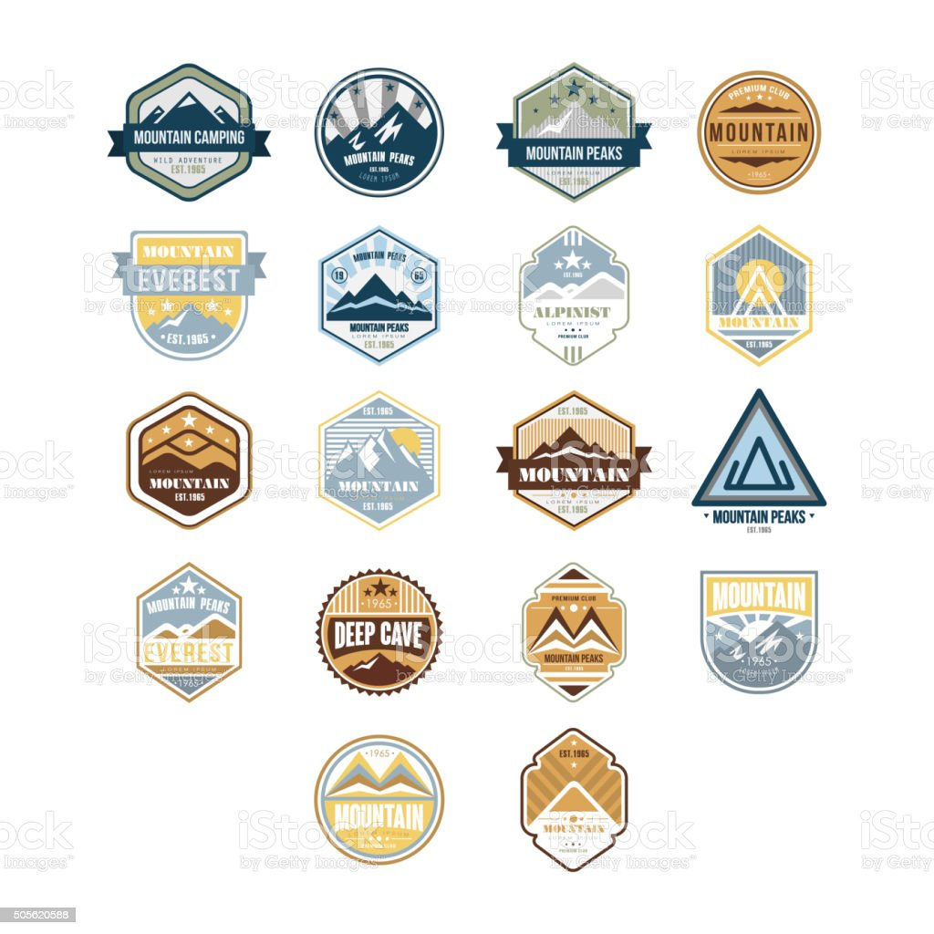 Mountain and Outdoor Adventure Vintage Emblems, Vector Set vector art illustration