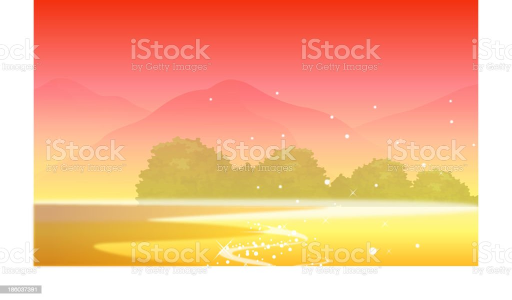 Mountain and sunset royalty-free stock vector art