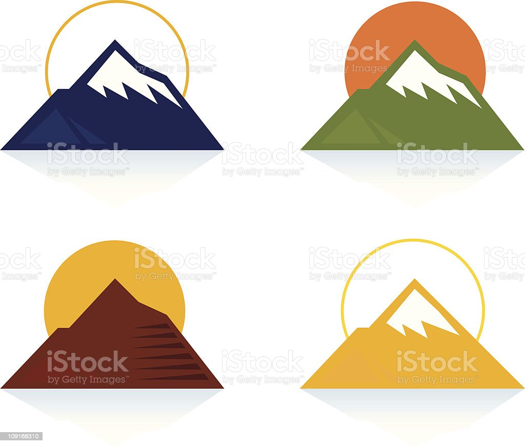 Mountain and tourist icons isolated on white royalty-free stock vector art