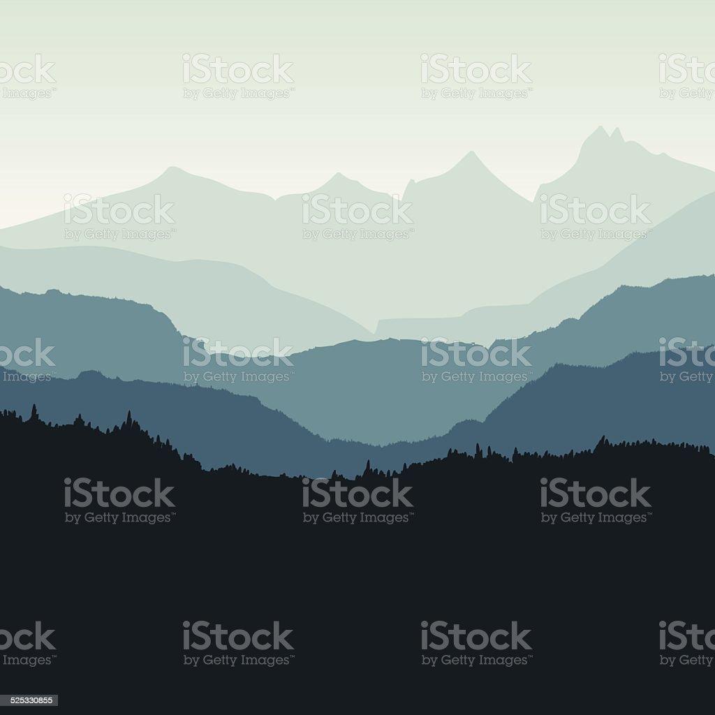 Mountain backdrop - VECTOR vector art illustration