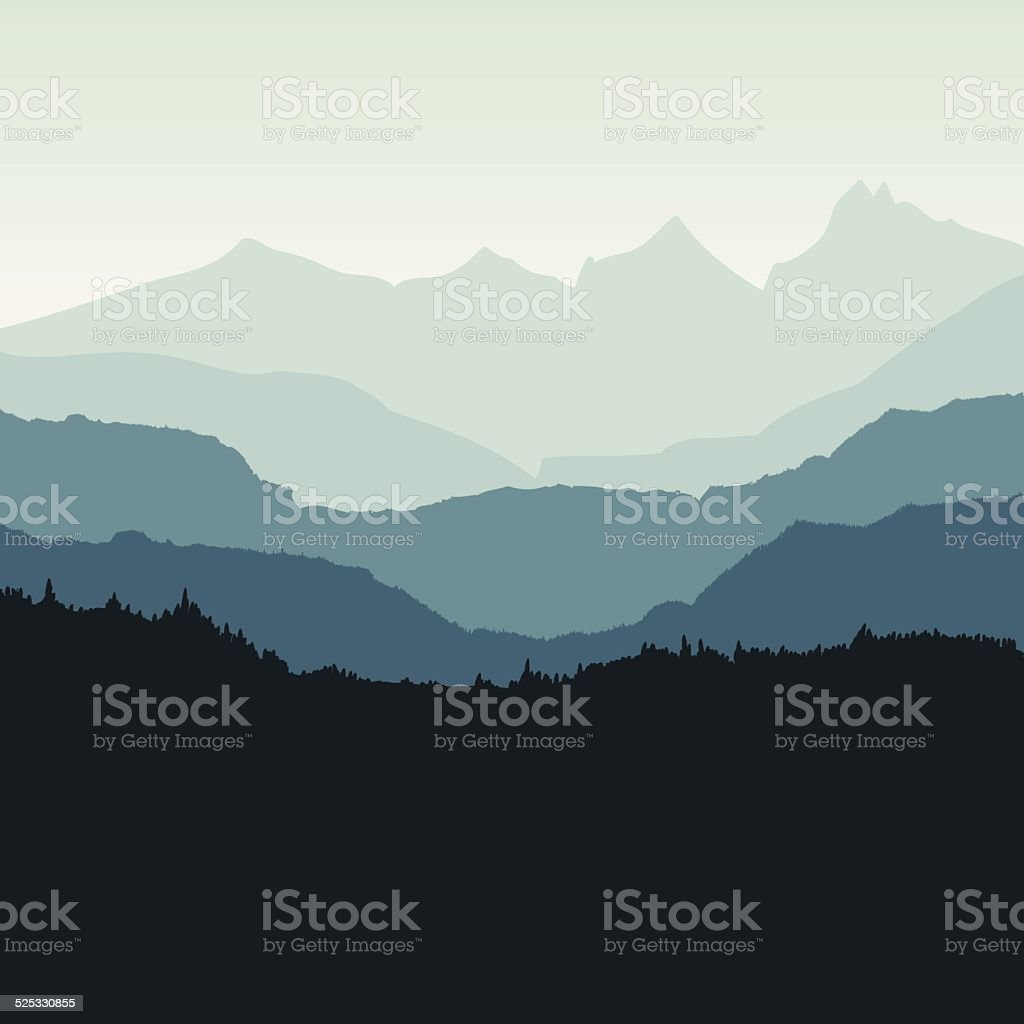 Mountain backdrop - VECTOR vector art illustration