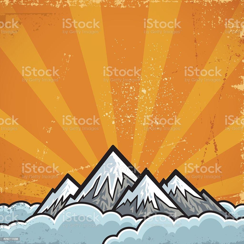Mountain background vector art illustration