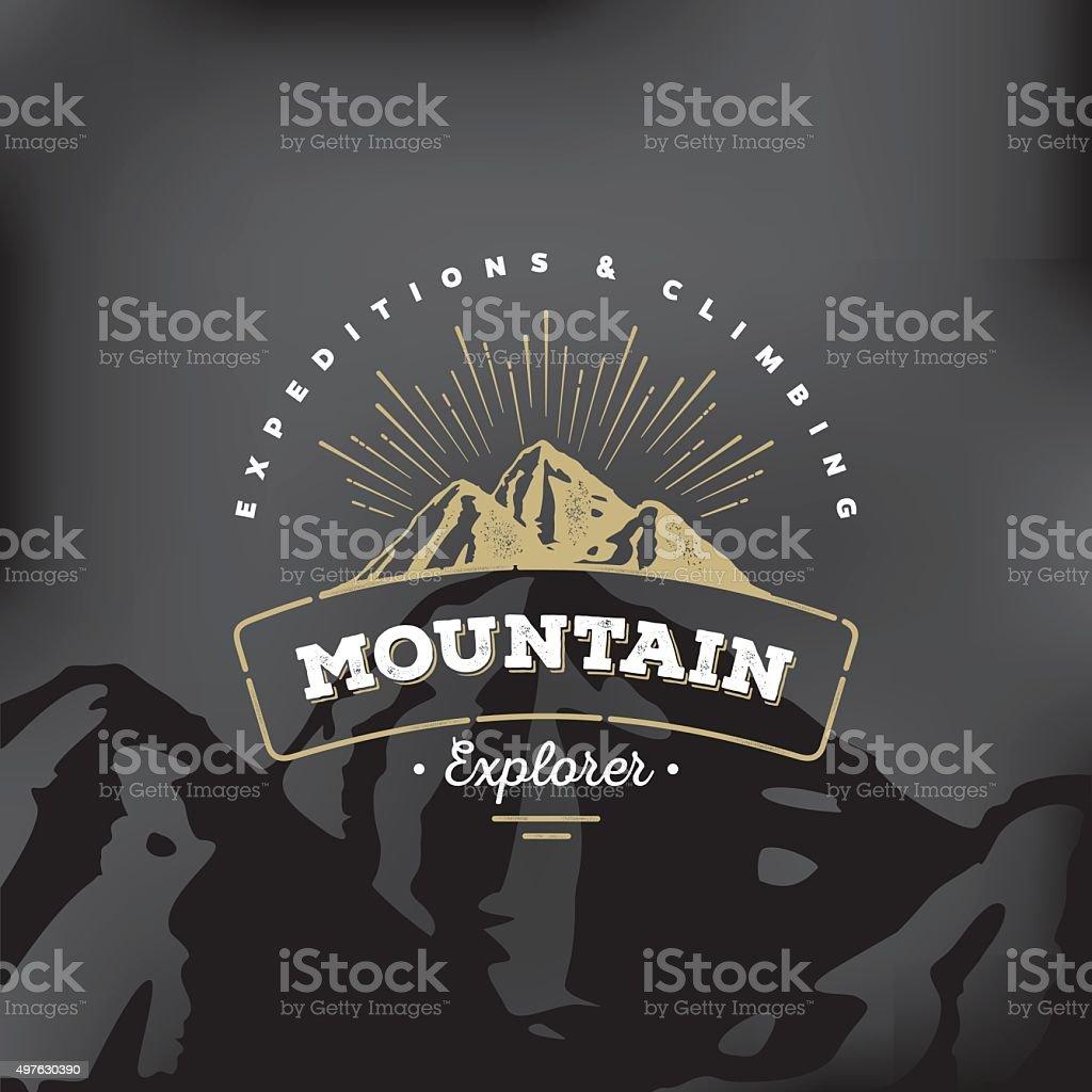 Mountain badge Black vector art illustration