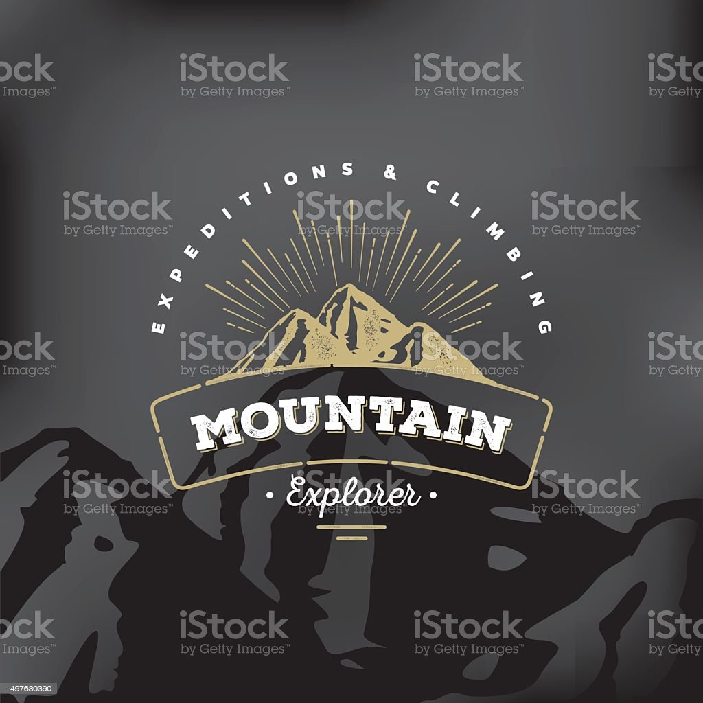 Mountain badge Black vector art illustration