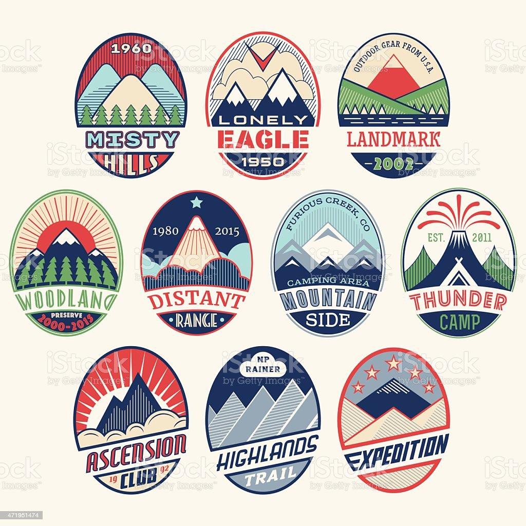 Mountain badge set2color vector art illustration