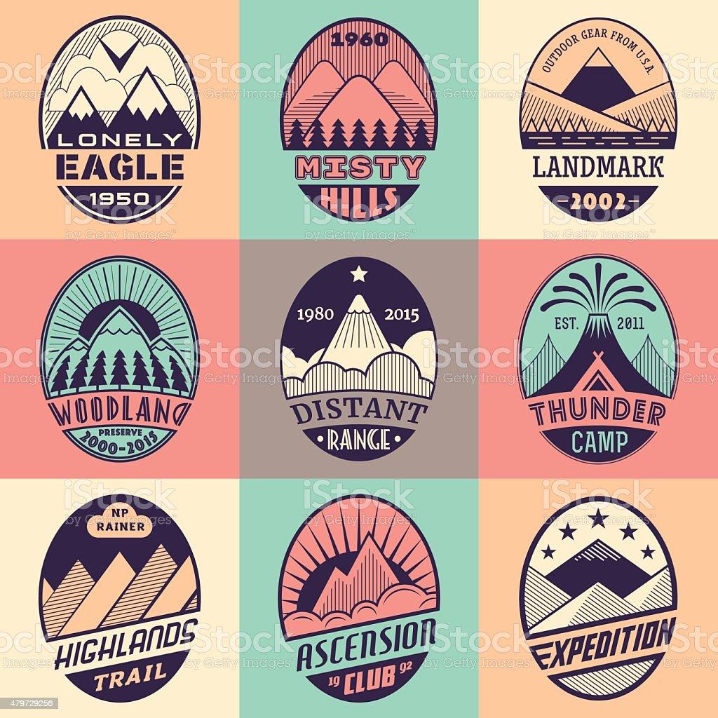 Mountain badge set2color1 vector art illustration