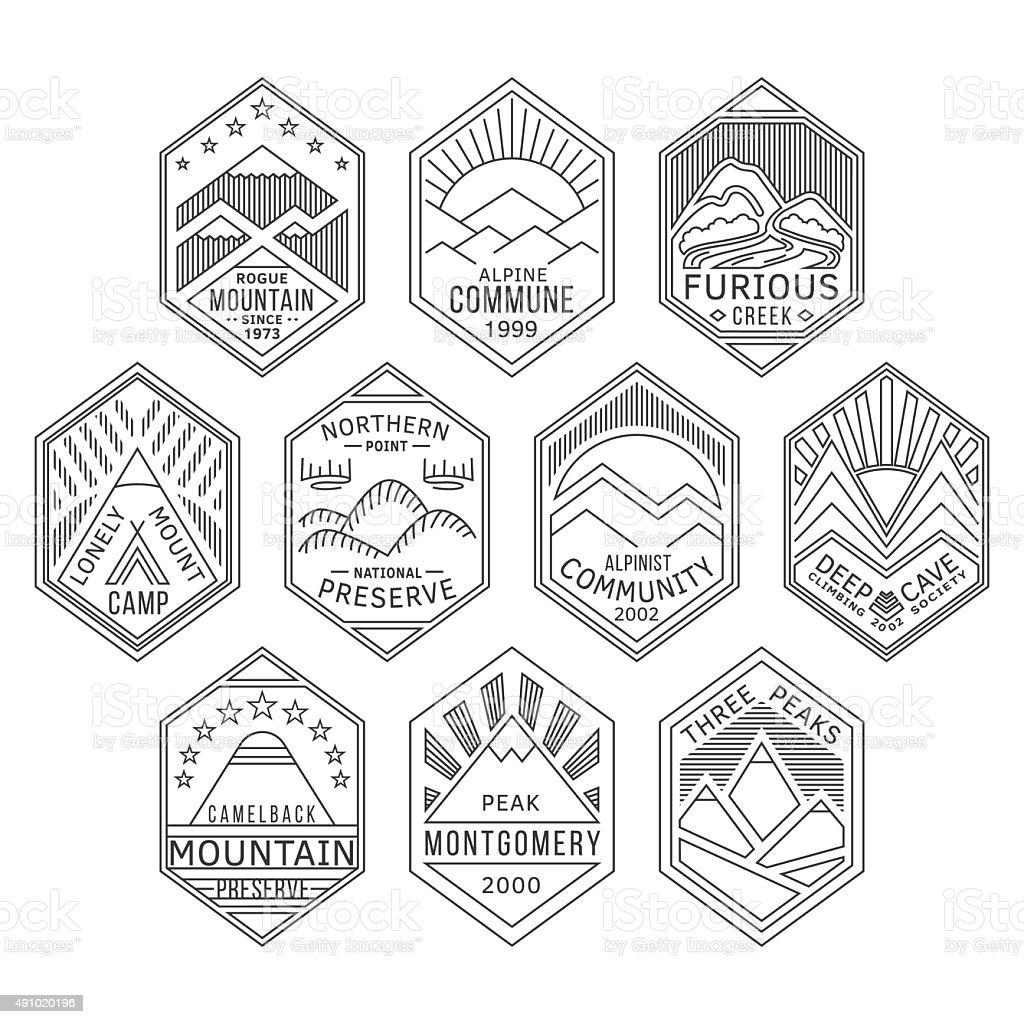 Mountain badges linear 1 vector art illustration