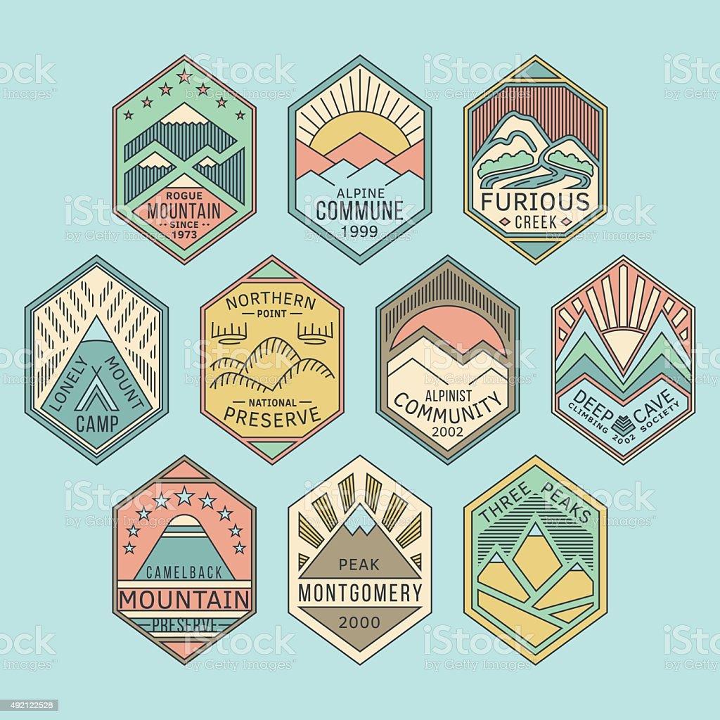 Mountain badges linear 1color vector art illustration