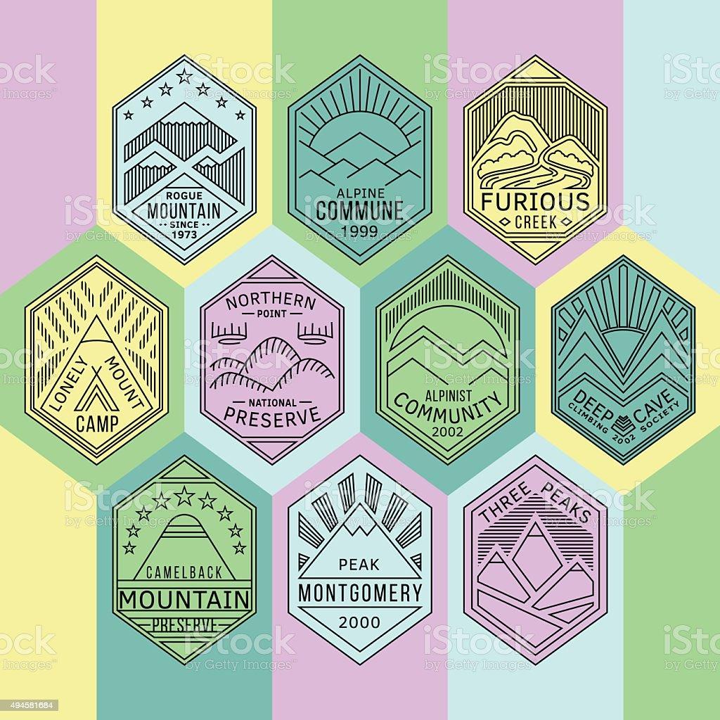 Mountain badges linear 1mono vector art illustration