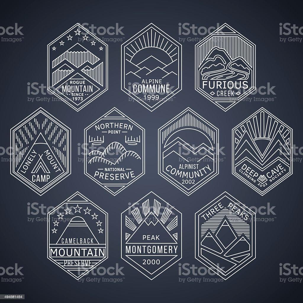 Mountain badges linear 1white vector art illustration