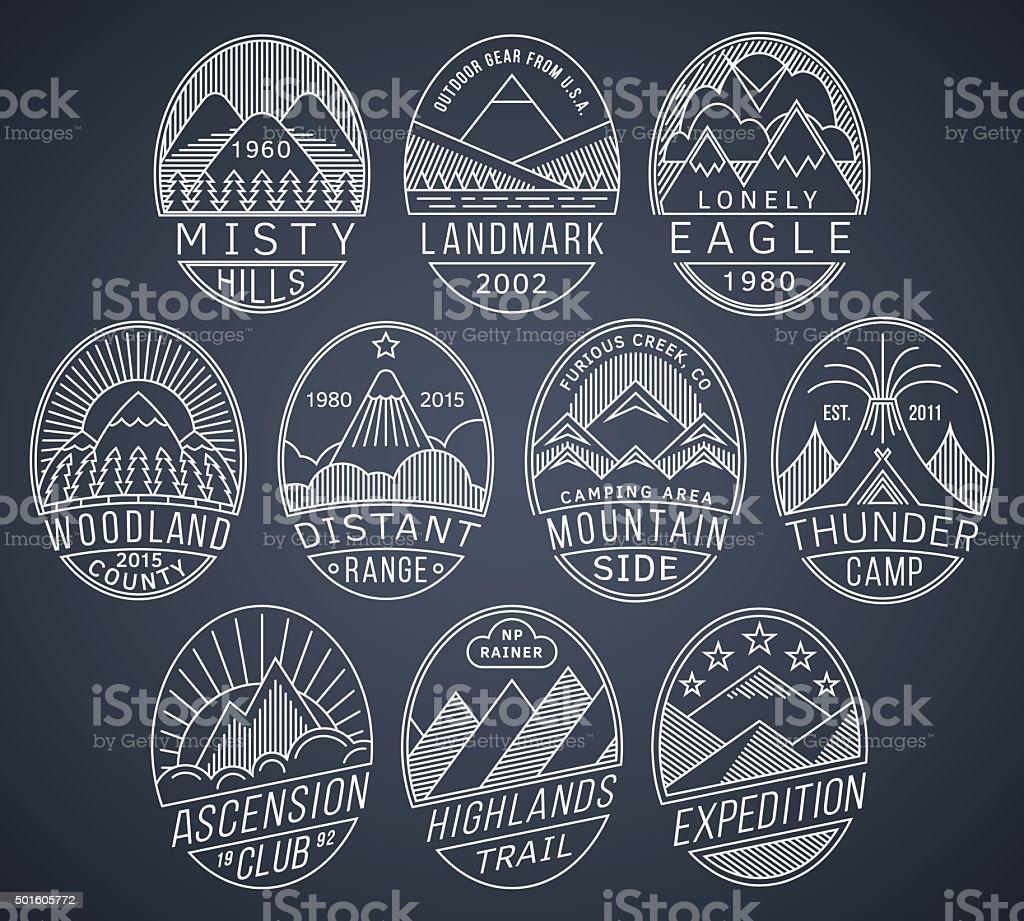 Mountain badges linear 2 white vector art illustration