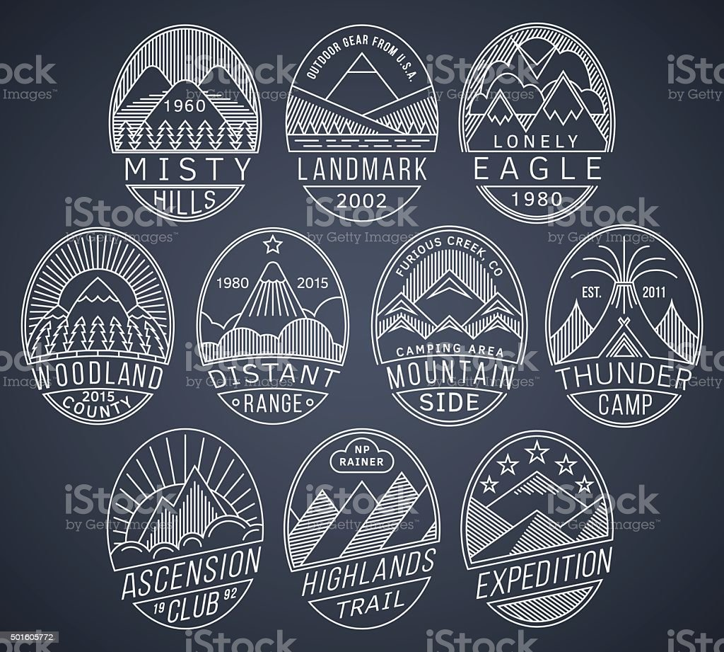 Mountain badges linear 2 white vector art illustration