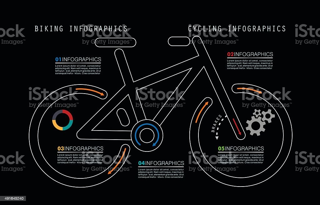 Mountain Bike Infographics in Linear Style vector art illustration