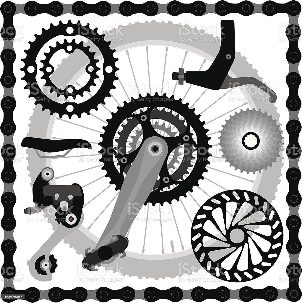 Mountain Bike Parts vector art illustration
