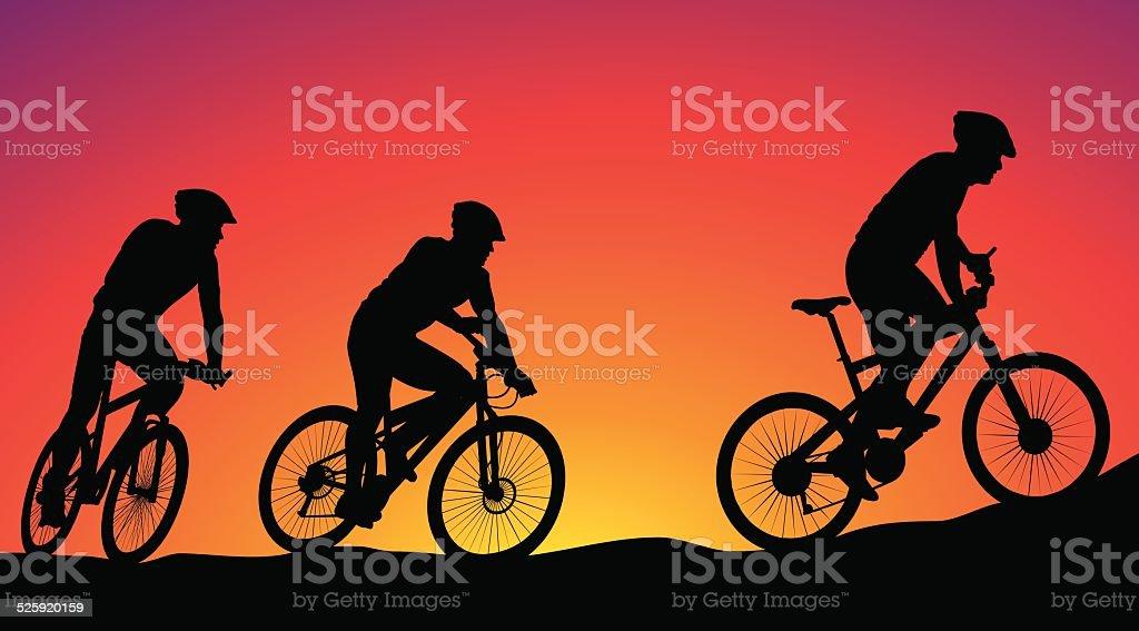 mountain bike race - silhouettes vector art illustration