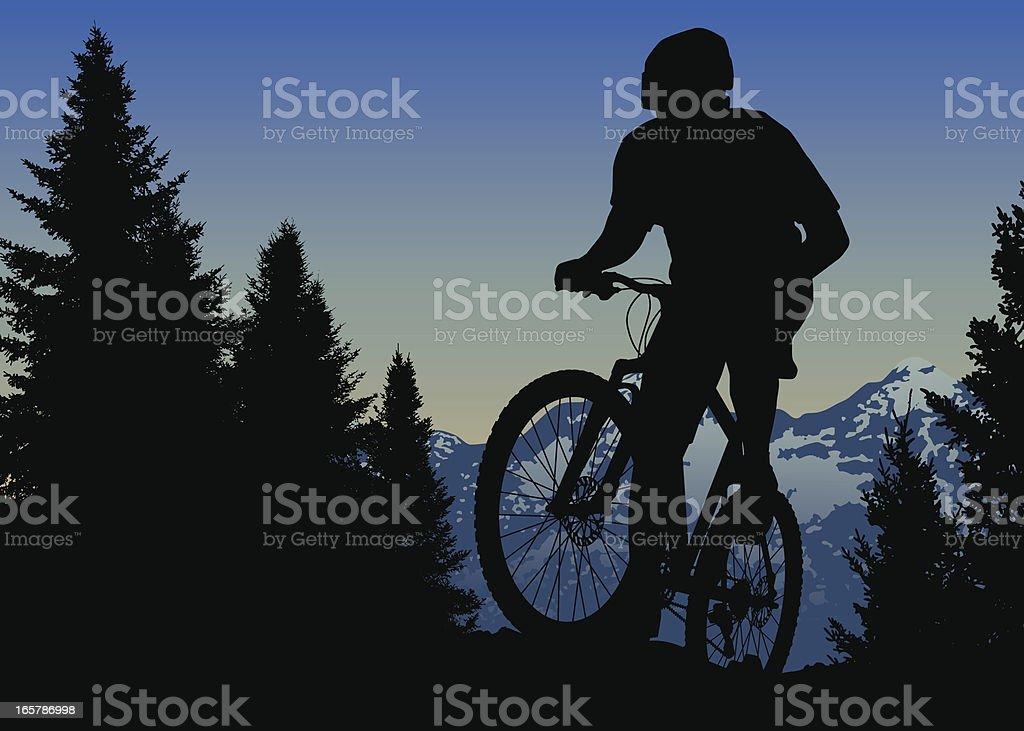 Mountain Bike Ride On Top Of The World vector art illustration