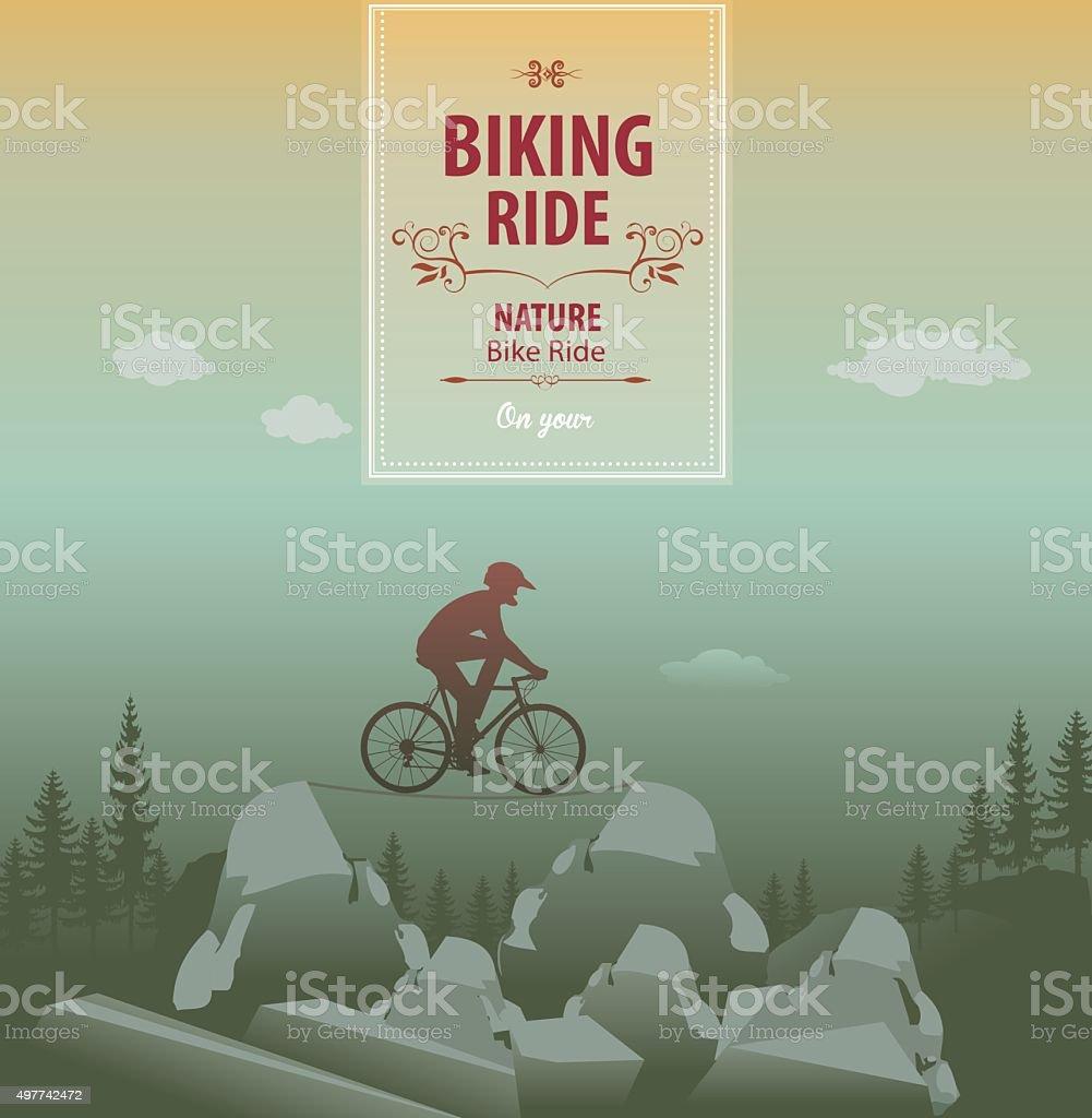 Mountain bike vector art illustration