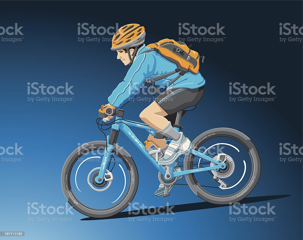 Mountain Biker Blue royalty-free stock vector art