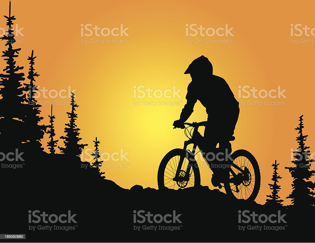 Mountain biker silhouette at sunset vector art illustration