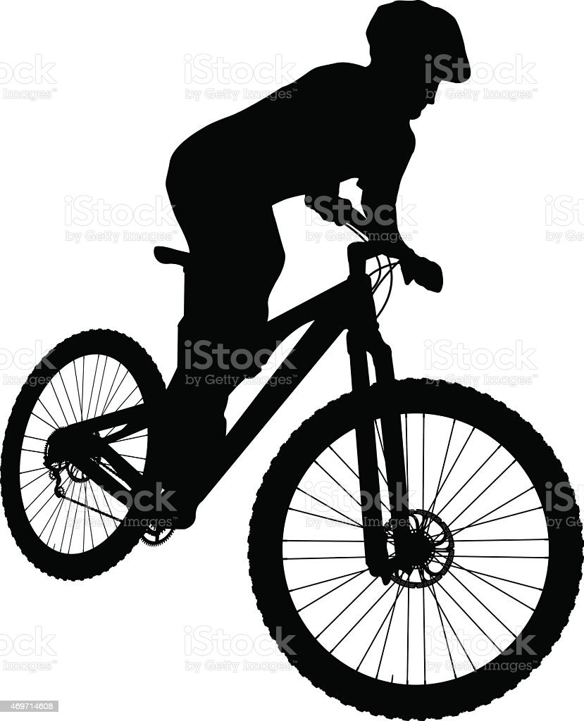 Mountain biker vector art illustration