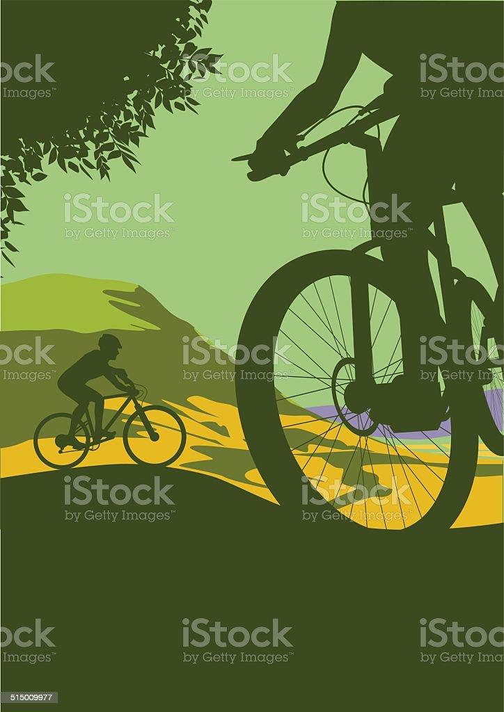 Mountain Bikers vector art illustration