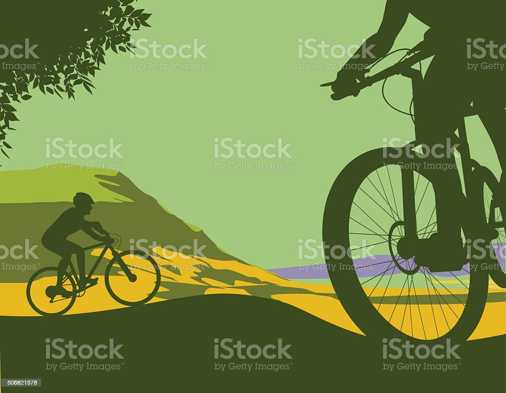 Mountain Bikes vector art illustration