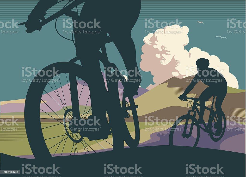 Mountain Bikes vector art illustration