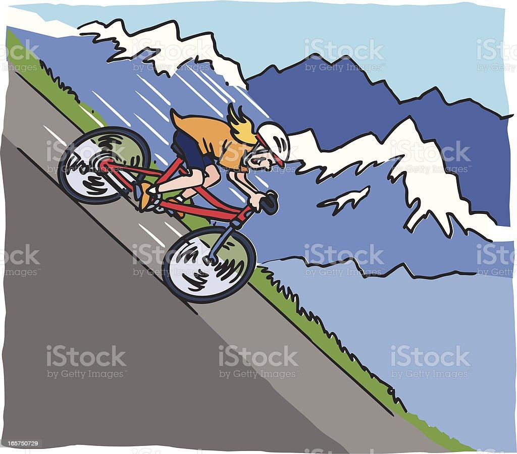 Mountain Biking Down Hill vector art illustration
