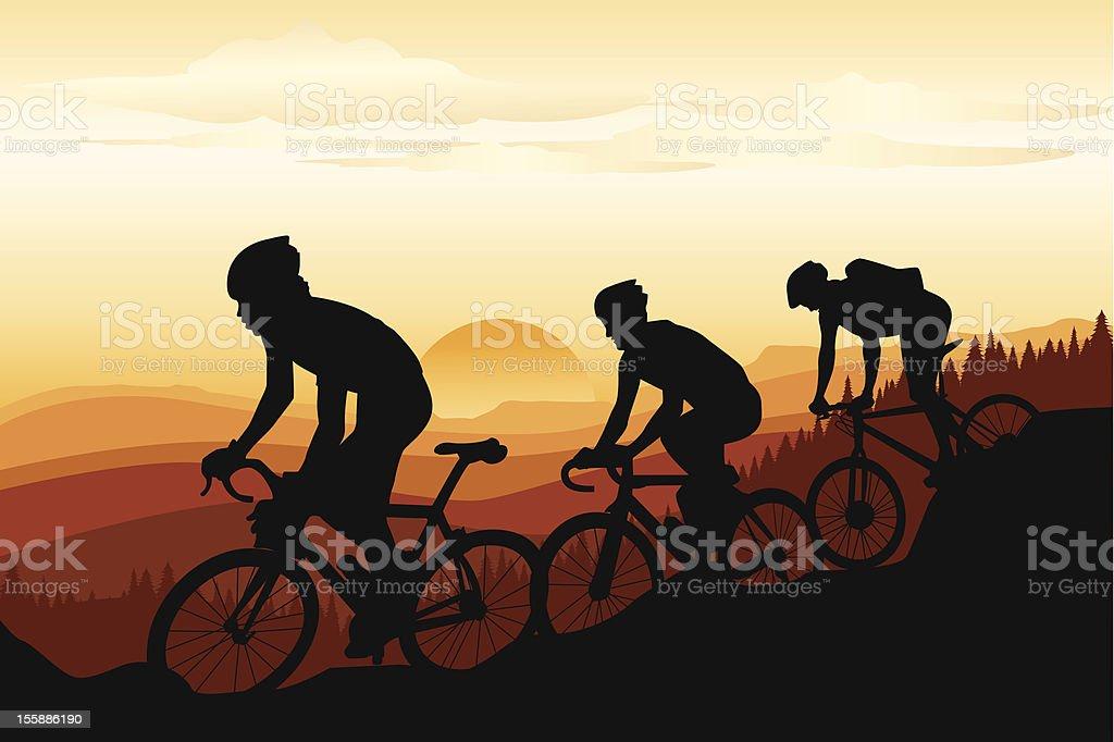 Mountain biking during a sunset vector art illustration