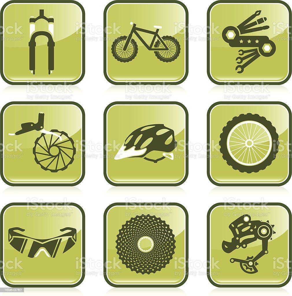 Mountain Biking Icon Set vector art illustration