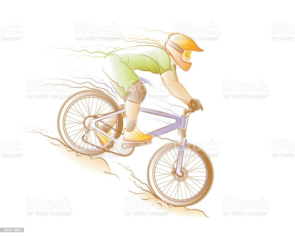 Mountain Biking vector art illustration