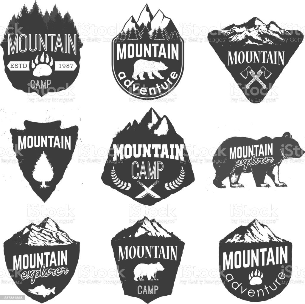 Mountain camp badges templates with mountains and trees isolated vector art illustration