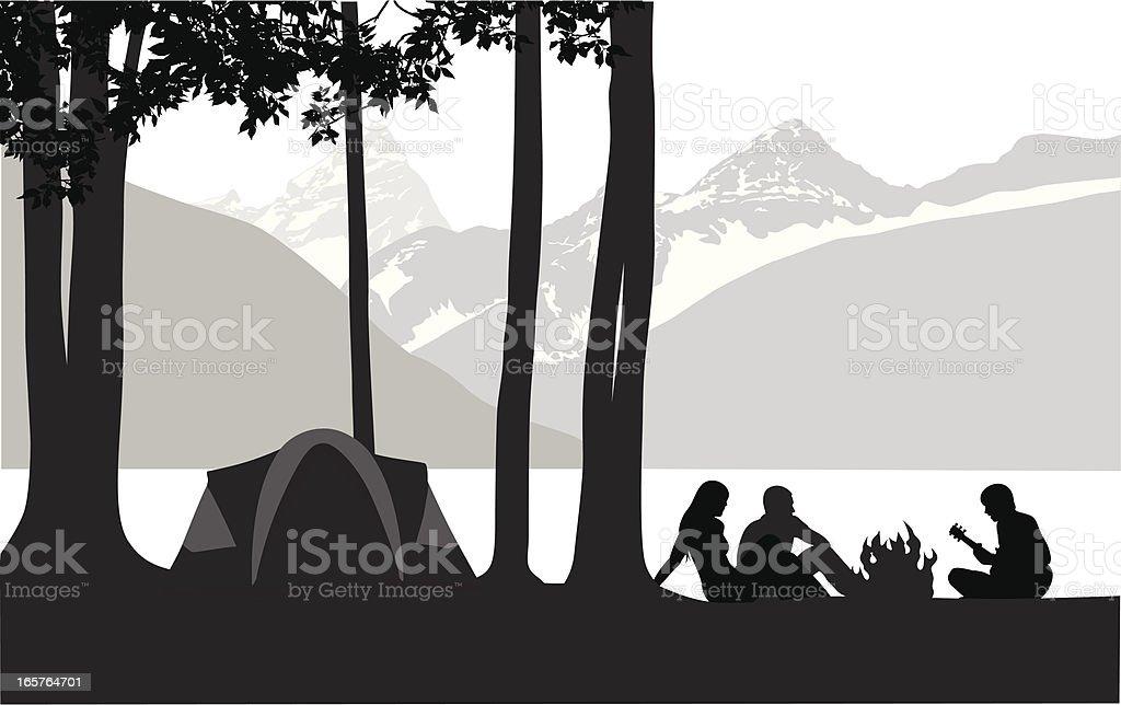 Mountain' Camping Vector Silhouette royalty-free stock vector art